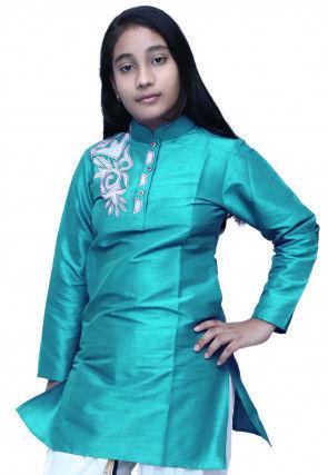 Embroidered Dupion Silk Kurti in Turquoise