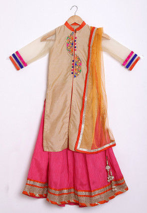 Embroidered Dupion Silk Lehenga in Beige and Pink