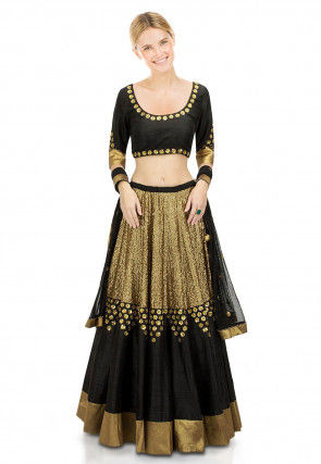 Embroidered Dupion Silk Lehenga in Black and Gold