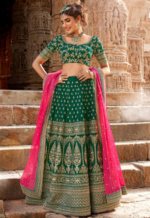 Embroidered Dupion Silk Lehenga in Dark Green