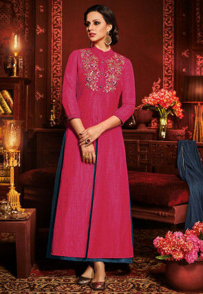 Embroidered Dupion Silk Lehenga in Fuchsia