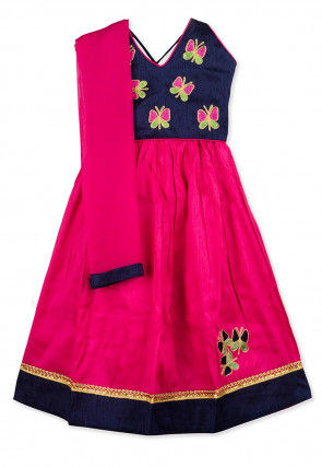 Embroidered Dupion Silk Lehenga in Navy Blue