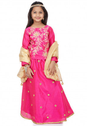 Embroidered Dupion Silk Lehenga in Pink