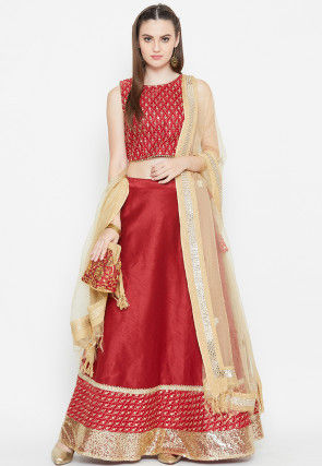 Embroidered Dupion Silk Lehenga in Red
