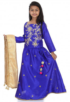 Embroidered Dupion Silk Lehenga in Royal Blue