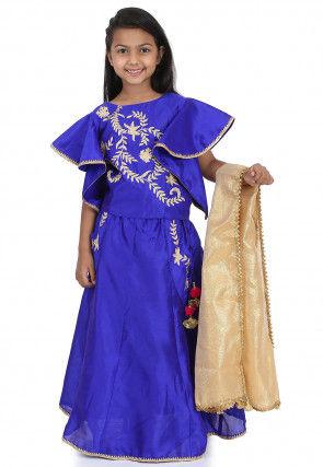 Embroidered Dupion Silk Lehenga in Royal Blue