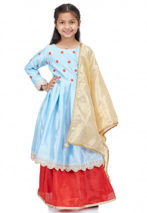 Embroidered Dupion Silk Lehenga in Sky Blue