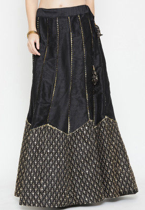 Embroidered Dupion Silk Long Skirt in Black