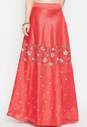 Embroidered Dupion Silk Long Skirt in Coral Red