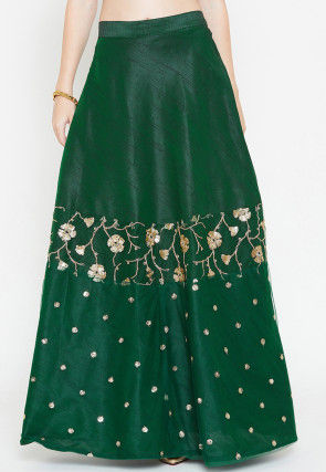 Embroidered Dupion Silk Long Skirt in Green