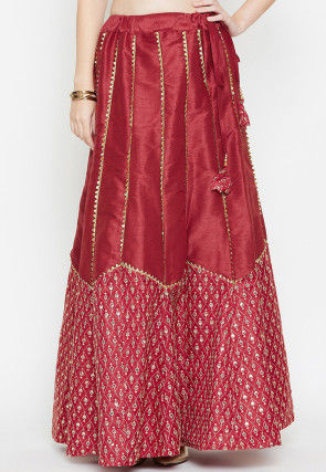 Embroidered Dupion Silk Long Skirt in Maroon