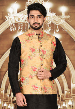 Embroidered Dupion Silk Nehru Jacket in Beige