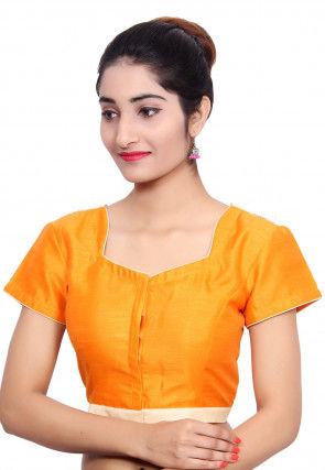 Embroidered Dupion Silk Padded Blouse in Mustard and Off White