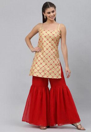 Embroidered Dupion Silk Pakistani Suit in Beige