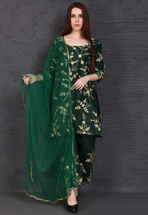 Embroidered Dupion Silk Pakistani Suit in Dark Green