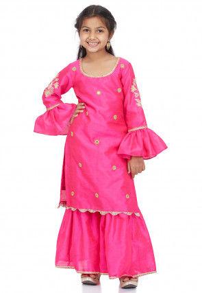 Embroidered Dupion Silk Pakistani Suit in Fuchsia