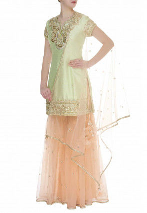 Embroidered Dupion Silk Pakistani Suit in Light Green