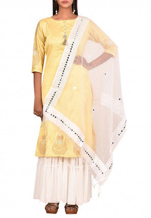 Embroidered Dupion Silk Pakistani Suit in Light Yellow
