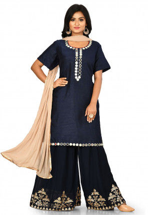 Embroidered Dupion Silk Pakistani Suit in Navy Blue