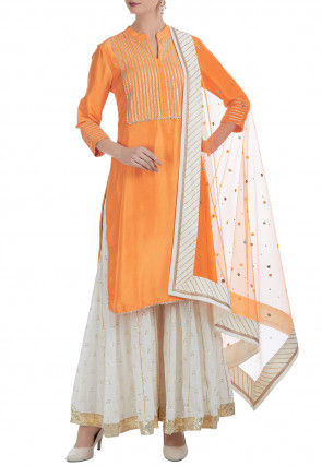 Embroidered Dupion Silk Pakistani Suit in Orange