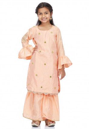 Embroidered Dupion Silk Pakistani Suit in Peach