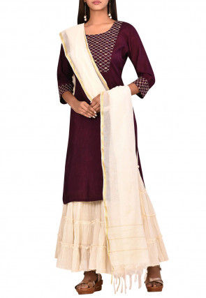 Embroidered Dupion Silk Pakistani Suit in Wine