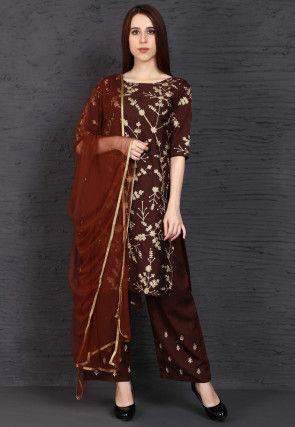 Embroidered Dupion Silk Pakistani Suit in Wine