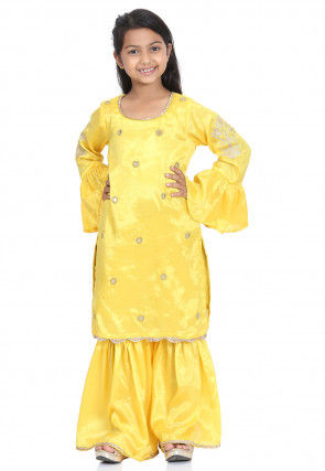 Embroidered Dupion Silk Pakistani Suit in Yellow