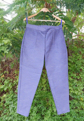 Embroidered Dupion Silk Pant in Blue