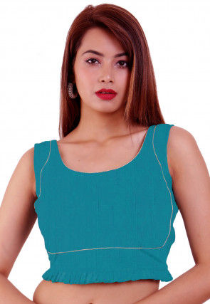 Embroidered Dupion Silk Pleated Hem Blouse in Teal Blue
