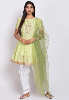 Embroidered Dupion Silk Punjabi Suit in Light Green