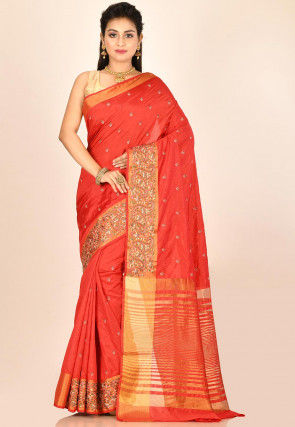 Embroidered Dupion Silk Saree in Coral Red