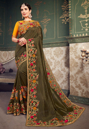 Embroidered Dupion Silk Saree in Dark Olive Green