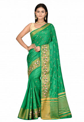 Embroidered Dupion Silk Saree in Green