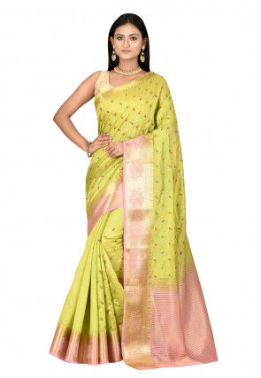Embroidered Dupion Silk Saree in Light Green