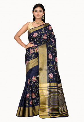 Embroidered Dupion Silk Saree in Navy Blue