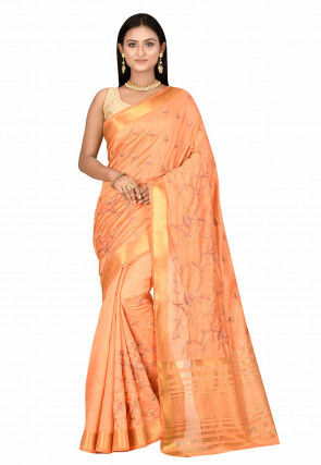 Embroidered Dupion Silk Saree in Pastel Orange