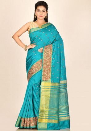 Embroidered Dupion Silk Saree in Teal Blue