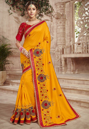 Embroidered Dupion Silk Saree in Yellow