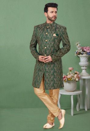 Embroidered Dupion Silk Sherwani in Dark Green