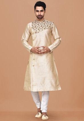 Embroidered Dupion Silk Sherwani in Light Beige