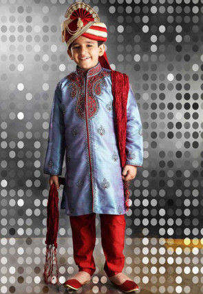 Embroidered Dupion Silk Sherwani Set in Blue