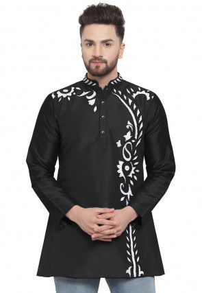 Embroidered Dupion Silk Short Kurta in Black