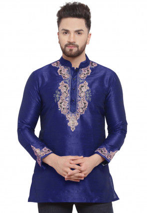 Embroidered Dupion Silk Short Kurta in Dark Blue