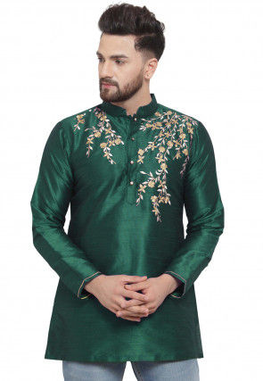 Embroidered Dupion Silk Short Kurta in Dark Green