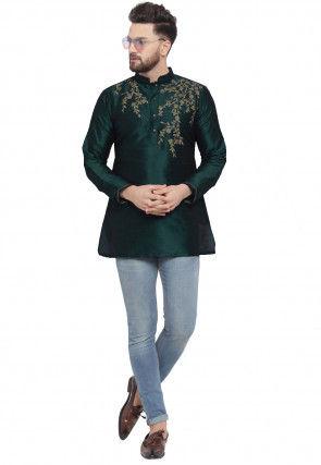 Embroidered Dupion Silk Short Kurta in Dark Green