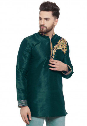 Embroidered Dupion Silk Short Kurta in Dark Teal Green