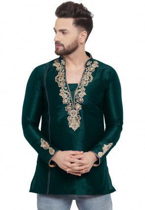 Embroidered Dupion Silk Short Kurta in Dark Teal Green
