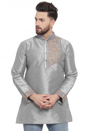 Embroidered Dupion Silk Short Kurta in Grey
