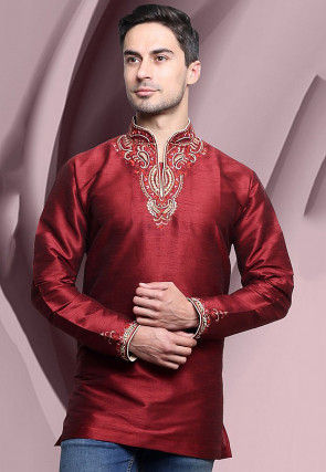 Embroidered Dupion Silk Short Kurta in Maroon
